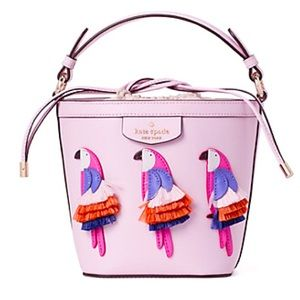Kate Spade Leather Cockatoo Pink pippa flock party Crossbody bucket Hand bag NWT